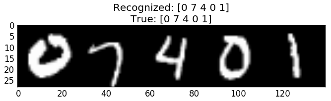 Sequence model correct recognition of example from testing set